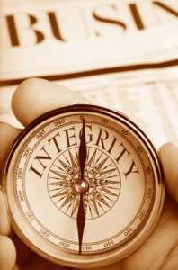 Compass Pointing the Way to Integrity in Business